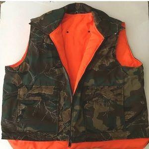 NYLON reversible woodland camo hunting vest 2XL